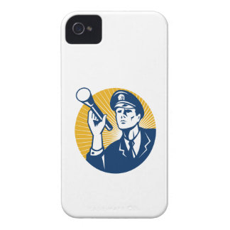 Policeman Security Guard With Flashlight Retro iPhone 4 Case-Mate Case