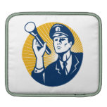 Policeman Security Guard With Flashlight Retro Sleeves For iPads
