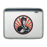 Policeman Security Guard With Flashlight Retro MacBook Air Sleeves