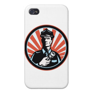 Policeman Security Guard With Flashlight Retro iPhone 4 Cases