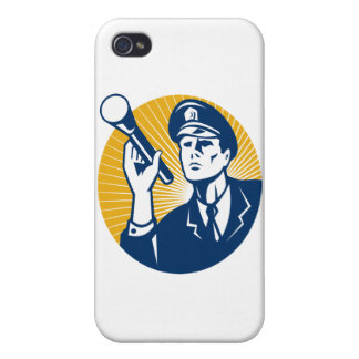 Policeman Security Guard With Flashlight Retro iPhone 4 Cover