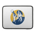 Policeman Security Guard With Flashlight Retro Sleeves For MacBook Pro