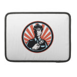 Policeman Security Guard With Flashlight Retro MacBook Pro Sleeve