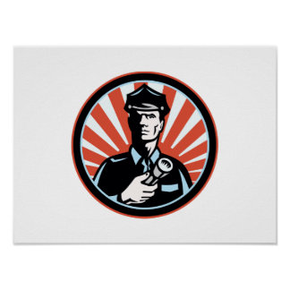 Policeman Security Guard With Flashlight Retro Poster