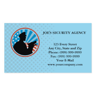 Policeman Security Guard With Police Dog Retro Double-Sided Standard Business Cards (Pack Of 100)