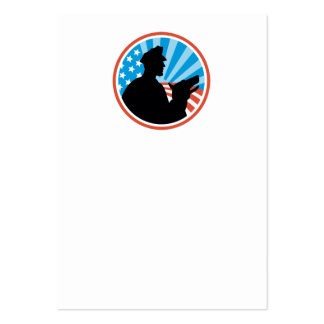 Policeman Security Guard With Police Dog Retro Large Business Cards (Pack Of 100)