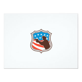Policeman Silhouette Pointing Gun Flag Shield Retr Custom Announcement