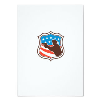 Policeman Silhouette Pointing Gun Flag Shield Retr 11 Cm X 16 Cm Invitation Card