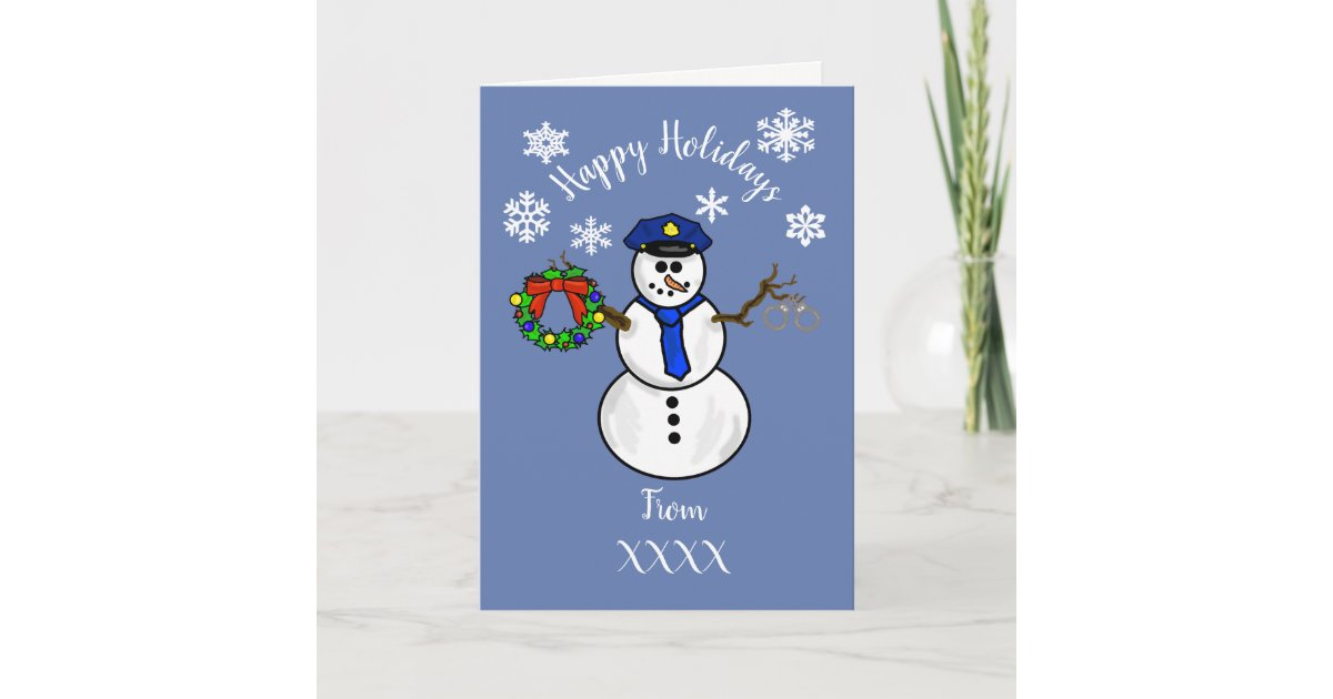 Policeman Snowman Christmas Card Dept. or Personal | Zazzle.com