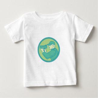 Policeman Speed Radar Gun Circle Mono Line Baby T-Shirt