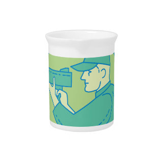 Policeman Speed Radar Gun Circle Mono Line Pitcher