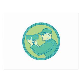 Policeman Speed Radar Gun Circle Mono Line Postcard