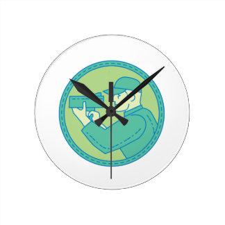 Policeman Speed Radar Gun Circle Mono Line Round Clock