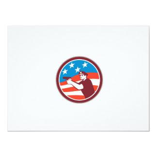 Policeman With Gun American Flag Circle Retro Custom Invitations
