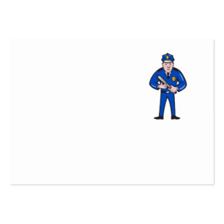 Policeman With Night Stick Baton Standing Large Business Cards (Pack Of 100)