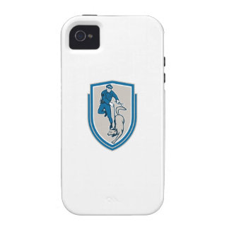 Policeman With Police Dog Canine Crest Retro Case-Mate iPhone 4 Cover