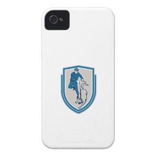 Policeman With Police Dog Canine Crest Retro iPhone 4 Cases