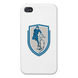 Policeman With Police Dog Canine Crest Retro iPhone 4 Cover