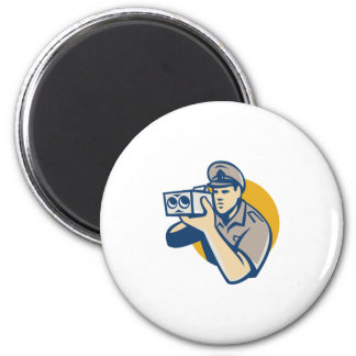 policeman with police speed camera retro 2 inch round magnet