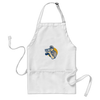 policeman with police speed camera retro adult apron