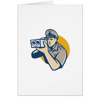 policeman with police speed camera retro card