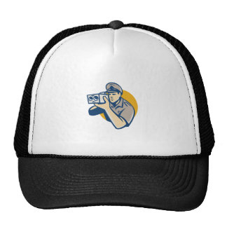 policeman with police speed camera retro trucker hat