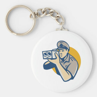 policeman with police speed camera retro keychains