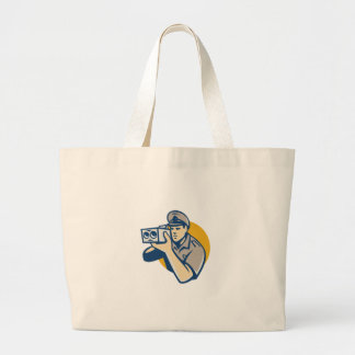 policeman with police speed camera retro large tote bag