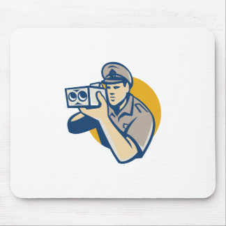 policeman with police speed camera retro mouse pad