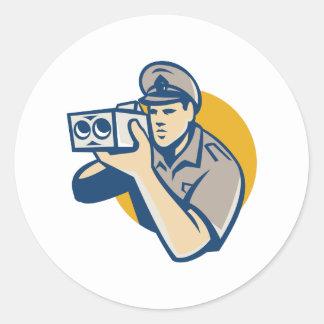 policeman with police speed camera retro classic round sticker