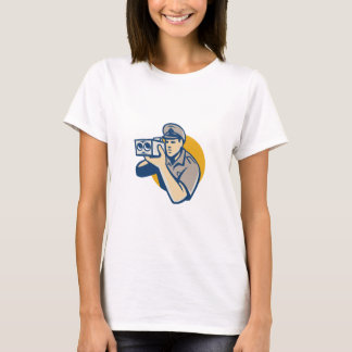policeman with police speed camera retro T-Shirt