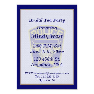 Policemans Bridal Shower Tea Party Invite