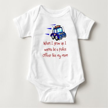 Toddler & Baby themed Policer Officer Like My Mom Baby T-Shirt