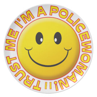 Policewoman Trust Me Smiley Party Plate