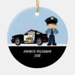 Policía adorable con el ornamento del coche policí ornamento para arbol de navidad