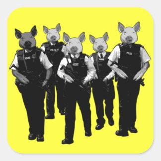Policía británica anti calcomanías cuadradass personalizadas