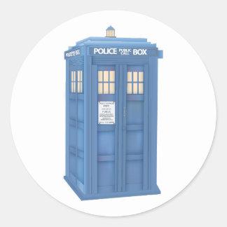 Policía británica Callbox del vintage Pegatinas Redondas