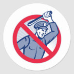 Policía de la brutalidad policial con el bastón etiquetas redondas