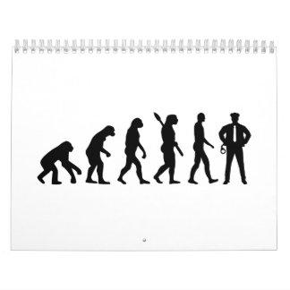 Policía de la evolución calendario de pared