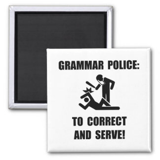 Policía de la gramática imán cuadrado