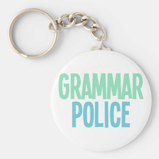 Policía de la gramática llavero redondo tipo pin