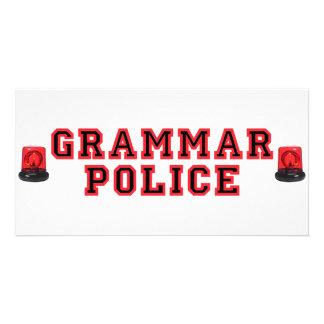 Policía de la gramática plantilla para tarjeta de foto