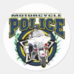 Policía de la motocicleta etiquetas redondas