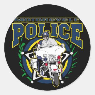 Policía de la motocicleta pegatinas redondas