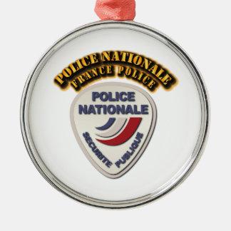 Policía de Nationale Francia de la policía con el Adorno Redondo Plateado