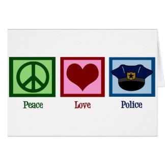 Policía del amor de la paz tarjeta de felicitación