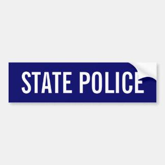 POLICÍA del ESTADO - emblema blanco del logotipo Etiqueta De Parachoque