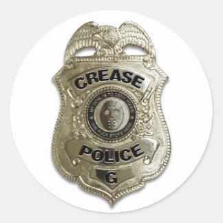 Policía del pliegue pegatina redonda