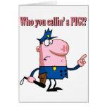 policía divertido del poli del dibujo animado del  tarjeton
