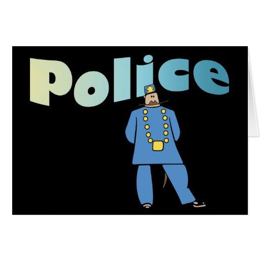 Policía en uniforme tarjetón